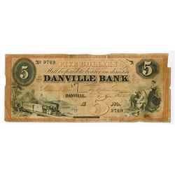Danville Bank, 1858 Obsolete Banknote.