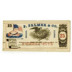 P. Palmer & Co. 1860's Obsolete Remainder Scrip Note.
