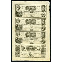 Bank of Washtenaw, 1834 Uncut Sheet of 4 Obsolete Banknotes, Partially Issued.