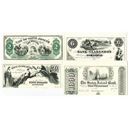 American Bank Note Obsolete Currency Quartet of Error Modern Reprint Notes.