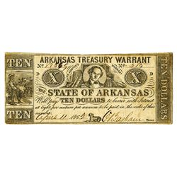 Arkansas Treasury Warrant, State of Arkansas, 1862 $10 Obsolete Banknote.