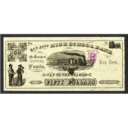 San Jose High School Bank. 18xx (ca.1880-1890's) College Currency.