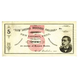 New London Business College Bank, 1860-70's Remainder College Currency Obsolete Banknote.