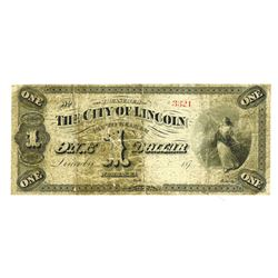 City of Lincoln, Nebraska, 1872 Nebraska Obsolete Scrip Note.
