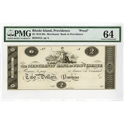 Merchants' Bank in Providence, ca. 1810-1820's Proof Obsolete Banknote.