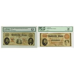 C.S.A. 1861 $10, T-24 & T26 Issued Confederate Banknote Pair.