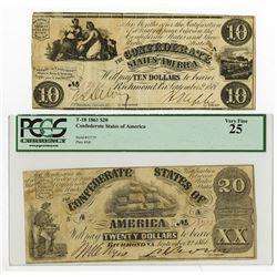 C.S.A. 1861 $10, T-28 & $20, T18, Issued Confederate Banknote Pair.