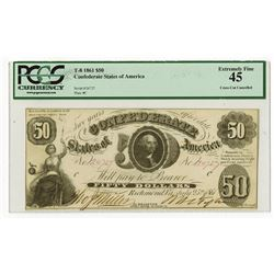 C.S.A. 1861 $50, T-8 Issued Confederate Banknote.