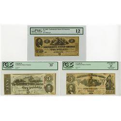C.S.A. 1861-1863 Confederate Banknote Trio.