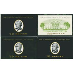 Low Serial Number Deluxe BEP 1996 & 1999 $10 and $20 notes.