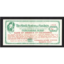 Stork System of Savings, Bank of America of California. 1c. 1932 Depression Scrip.