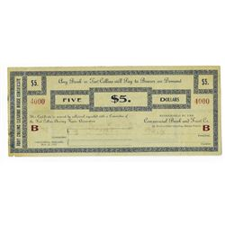 Fort Collins Clearing House Certificates, 1907 Depression Scrip Note.
