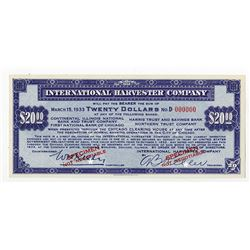 International Harvester Co., 1933 Specimen Depression Scrip.