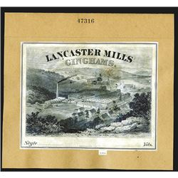 American Bank Note Co. Lancaster Mills Ginghams Proof Vignette Product Label, ca.1870-90's.