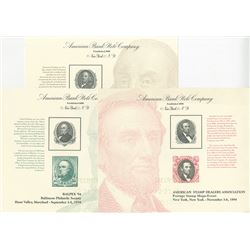 American Bank Note Specimen 1994 Philatelic Souvenir Card Trio.