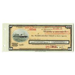 Norddeutscher Lloyd Check, 1930-50s Specimen Traveler's Check.