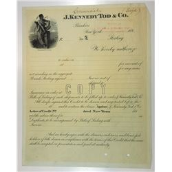 J. Kennedy Tod & Co., 1880s Specimen Bond