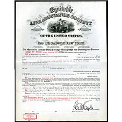 Equitable Life Assurance Society of the U.S. (German Issue), ND ca.1890's Specimen Insurance Policy.