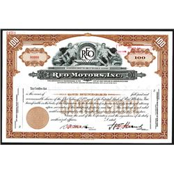 REO Motors, Inc., ND ca.1920-40's) Specimen Stock Certificate.