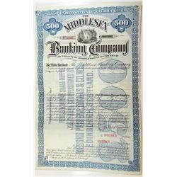 Middlesex Banking Co., 1890s $500 Specimen Odd% Debenture Bond.