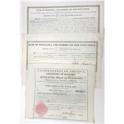 Bank of Pensacola and Florida $1000 Bond with 2 Additional 6% Stock Certificate , ca.1835-1840.