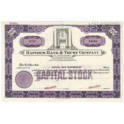 Rapides Bank & Trust Co. in Alexandria, 1920-30's Specimen Stock Certificate.