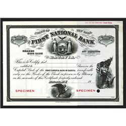 First National Bank of Batavia. 1900-1910 Specimen Stock Certificate.