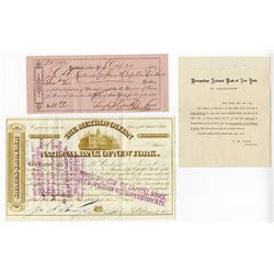 Metropolitan National Bank of New York, 1877 Issued Stock Certificate.