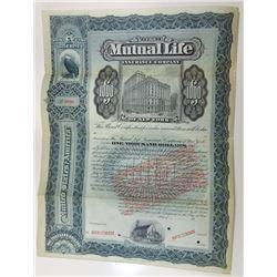 Mutual Life Insurance Co. of New York, 1920s Specimen Bond