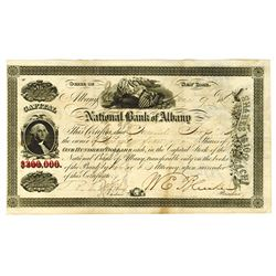 National Bank of Albany, 1860 Stock Certificate.