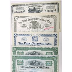 Banking Stock Certificate Quintet, 1918-1934