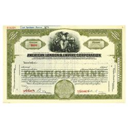 American, London & Empire Corp., ca.1960-1970 Specimen Stock Certificate