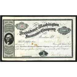 Providence Washington Insurance Company Issued Shares. 1886.