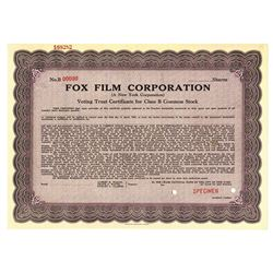 Fox Film Corp., ca.1950-1960 Specimen Stock Certificate