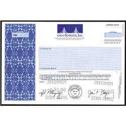 Cisco Systems, Inc. 1990 Specimen Stock Certificate.