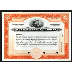 Munyon Remedy Co. 1900-1920 Specimen Stock Certificate.