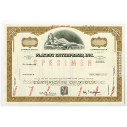 Playboy Enterprises, Inc., 1972 Specimen Stock Certificate.