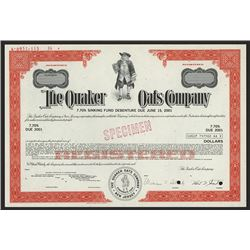 Quaker Oats Co. 1971 Specimen Bond.