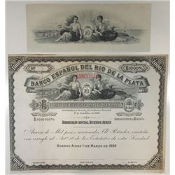 Banco Espanol Del Rio De La Plata, 1888 Proof Share Certificate with Matching Proof Vignette.