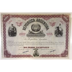 Republica Argentina, Fundo Publico Nacional, 1882 Specimen Coupon Bond.