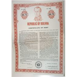 Republic of Bolivia, 1969 Specimen Certificate of Debt/Bond