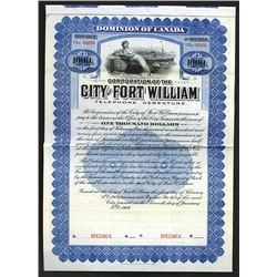 City of Fort William Specimen Bond.