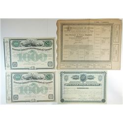 Lot of 7 Bond & Share Certificates, Panama, Peru and Chile.