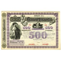 Banco Agricola, 1880's Specimen Coupon Bond.