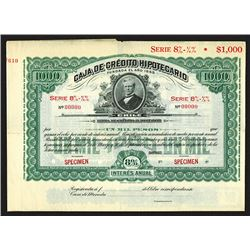 Caja de Credito Hipotecario 1890-1900 Specimen bond.