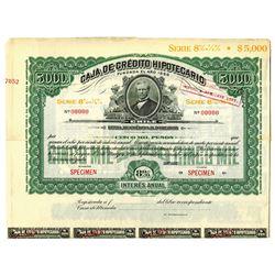 Caja de Credito Hipotecario, ca.1900-1920 Specimen Bond -Dark Green