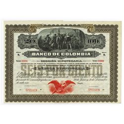 Banco de Colombia, ca.1900-1920 Specimen Bond