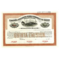Compania Azucarera Pedro Fernandez de Castro, ca.1910-1920 Specimen Stock Certificate