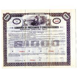 Compania de Prestamos Y Construcciones, ca.1900-1910 Specimen Bond
