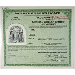 German Dollar Bond Specimen Validation Certificate, 1940s